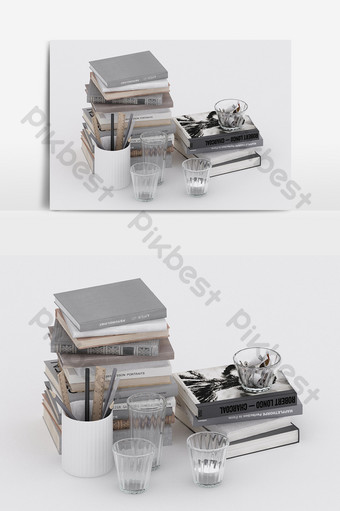 لوازم الكتب على الطراز الصناعي الحديث تأثيث ملحقات مزيج نموذج ثلاثي الأبعاد الديكور والنموذج قالب MAX