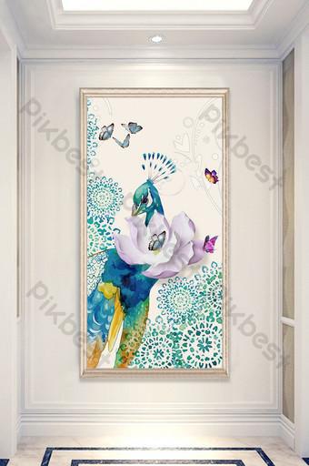 Phong cách Trung Quốc mới 3d tốt lành vẽ tay con công bướm bức tranh trang trí hiên nhà Trang trí và mô hình Bản mẫu PSD