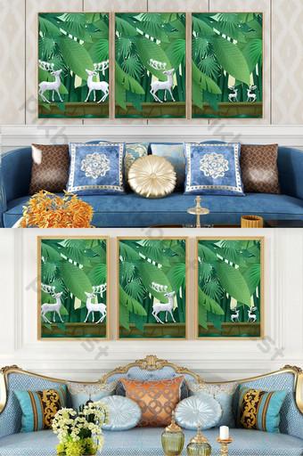 الفن الطازج الغابات الخضراء الكريستال الخزف المشهد غرفة المعيشة فندق الديكور اللوحة الديكور والنموذج قالب PSD
