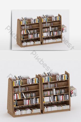 النمط الصناعي الحديث خزانة الكتب أثاثات مزيج نموذج ثلاثي الأبعاد الديكور والنموذج قالب MAX