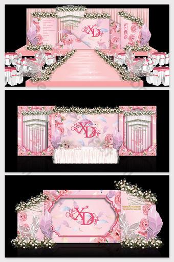 النمط الأوروبي بسيط موضوع الوردي تأثير الزفاف الصورة الديكور والنموذج قالب PSD