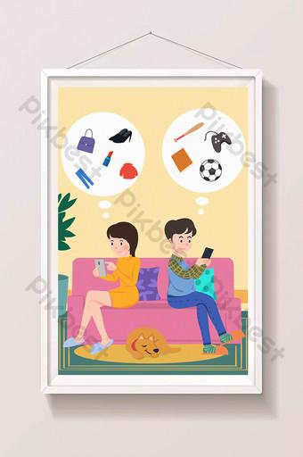 ilustración de dibujos animados en línea de teléfono móvil de pareja de festival de compras doble 11 Ilustración Modelo PSD