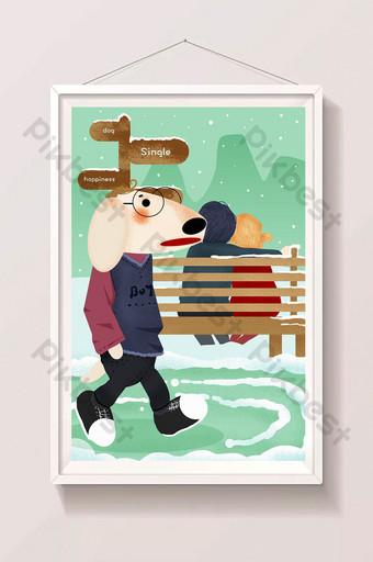 صورة كلب واحد أخضر الرسوم التوضيحية الرسوم المتحركة الرسم التوضيحي قالب PSD