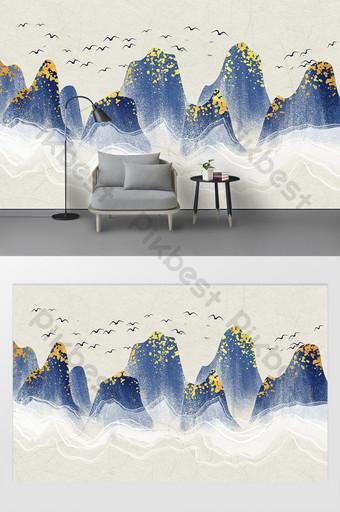 藍色金色紋理手繪水墨山水電視背景牆 裝飾·模型 模板 PSD