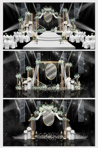 Mori series small fresh white green theme wedding renderings Decors & 3D Models Template PSD