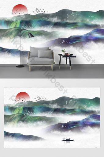 手繪抽象意境紋理山水畫電視背景牆 裝飾·模型 模板 PSD