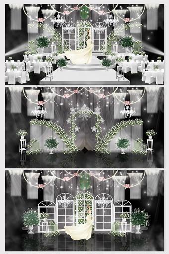 Beautiful Korean white and green wedding three-piece set Decors & 3D Models Template PSD