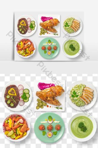 牛排烤雞肉水果沙拉午餐與食物元素png文字 電商淘寶 模板 PSD