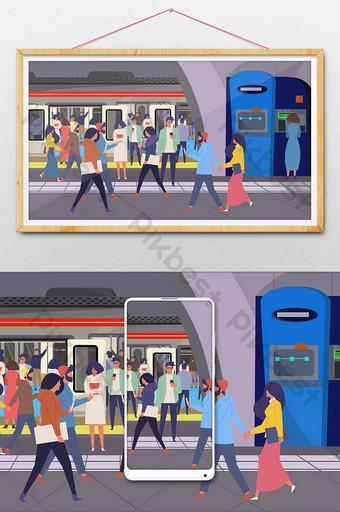 ilustración de tráfico de la ciudad de dibujos animados en el metro Ilustración Modelo AI