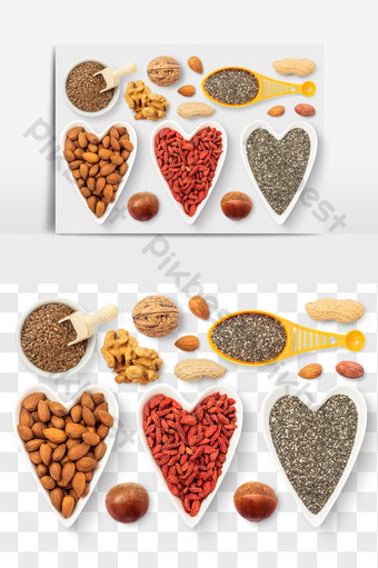 Nuts wolfberry almond melon seeds food element PNG picture E-commerce Template PSD