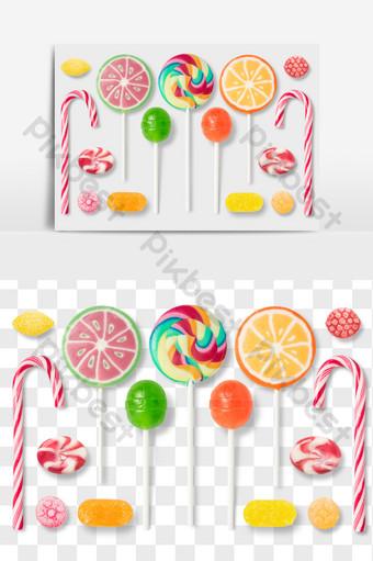 gambar elemen makanan png permen lolipop warna E-commerce Templat PSD