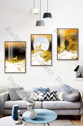 الخط الذهبي الأدبي الكريستال الخزف المشهد غرفة المعيشة فندق اللوحة الزخرفية الإبداعية الديكور والنموذج قالب PSD