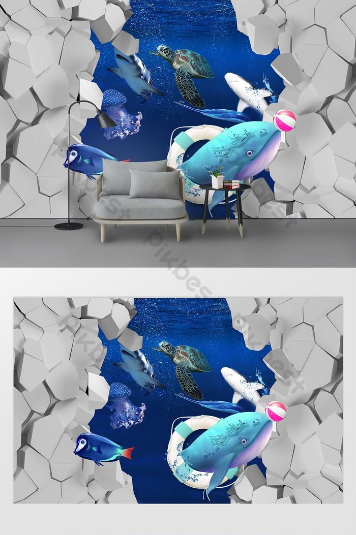 Современный 3d стерео дельфин плавать рыба ТВ фоне стены