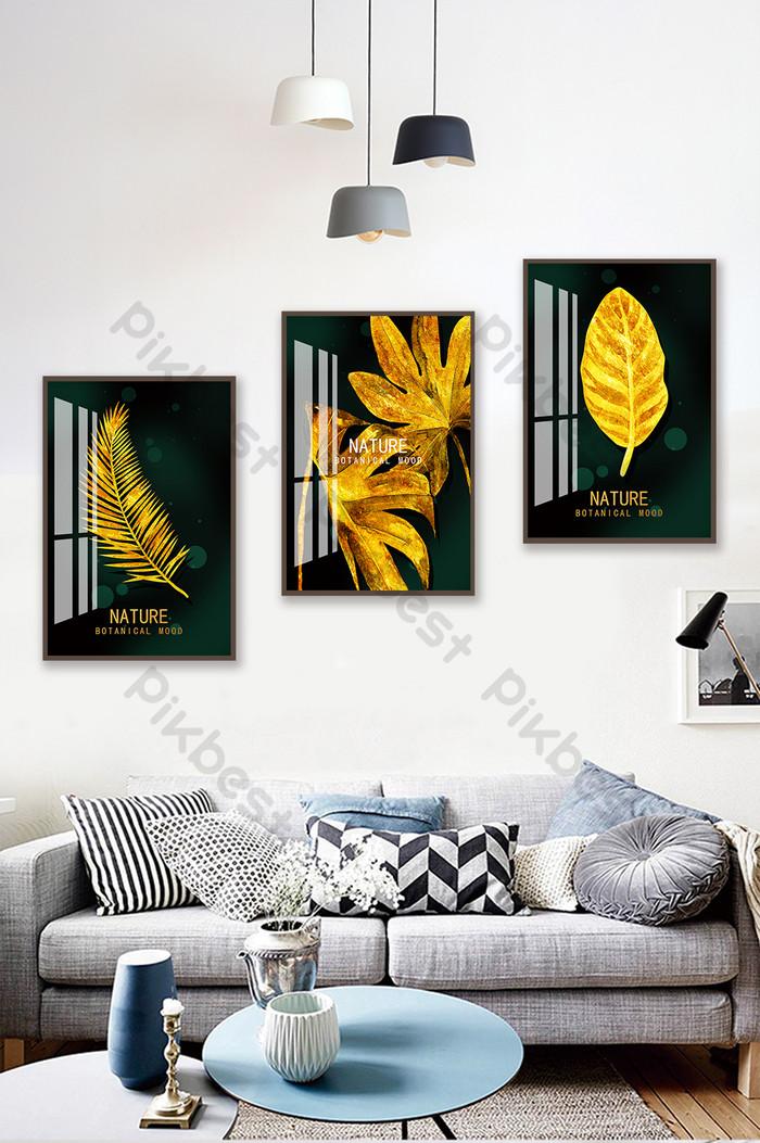 現代簡約北歐抽象金葉水晶瓷器畫裝飾