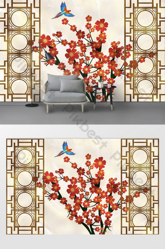 new chinese style golden screen window drawing branches plum flowers and birds background wall Decors & 3D Models Template TIF