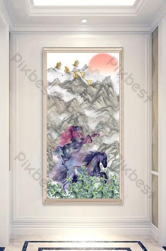 رسمت باليد الصينية الحصان لنجاح اللوحة الزخرفية الشرفة الديكور والنموذج قالب PSD