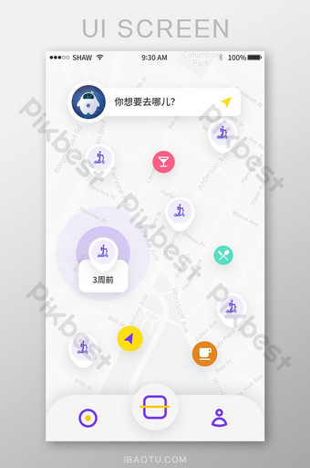 purple simple icon life assistant map app location search page UI Template PSD