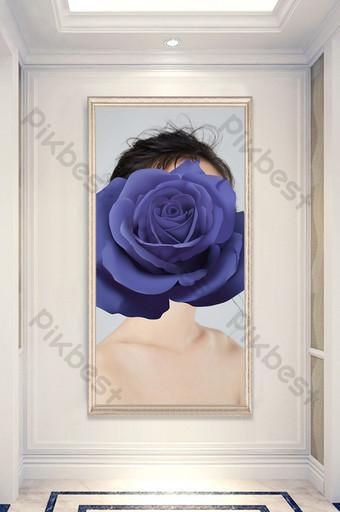 nordic minimalis modern kreatif kecantikan bunga biru lukisan dekoratif abstrak Dekorasi dan model Templat TIF