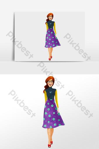 acuarela dibujada a mano modelo de moda pasarela posando ilustración personaje Ilustración Modelo PSD