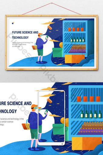 2 5d卡通vr無人商店購物技術圖 插畫 模板 PSD