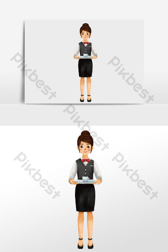 watercolor drawing character standing and serving coffeeee waitress in western restaurant Illustration Template PNG