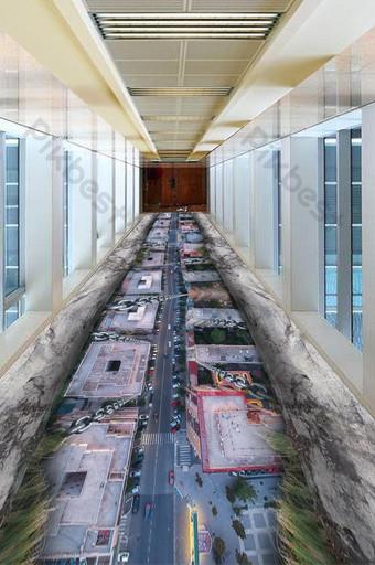 3d ثلاثي الأبعاد مدينة كابل الحديد اللوحة الإبداعية الكلمة الديكور والنموذج قالب PSD