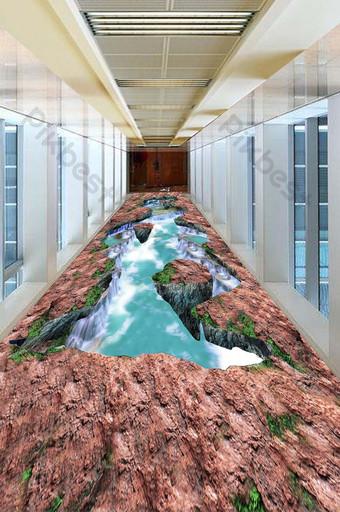 3D الأحمر كلاي الجبل شلال تتدفق المياه اللوحة الكلمة الديكور والنموذج قالب TIF