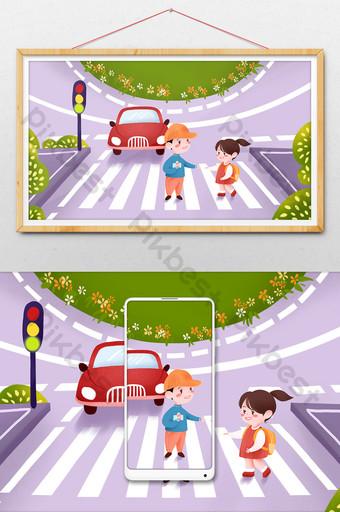 السلامة المرورية ممسكين بأيديهم عبور الطريق الأطفال التوضيح الرسم التوضيحي قالب PSD
