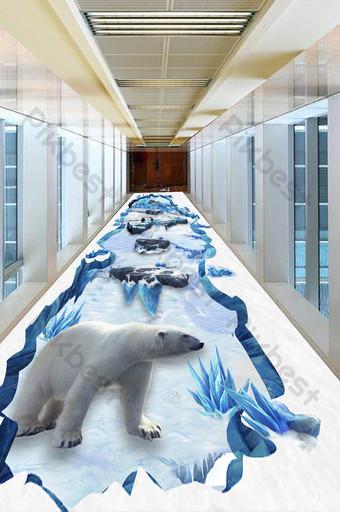 Fondo de pintura de piso tridimensional de montaña de nieve del siglo glaciar 3d moderno y simple Decoración y modelo Modelo PSD