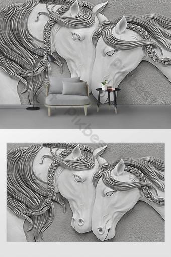الحديثة اليدوية ثلاثي الأبعاد الإغاثة 3d الحصان التلفزيون خلفية الجدار الديكور والنموذج قالب PSD