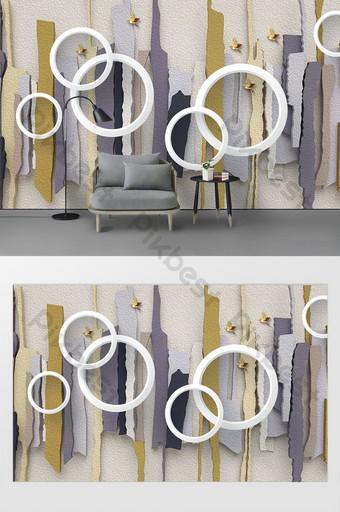 Modern minimalis mode geometris 3d lingkaran tiga dimensi lukisan minyak dinding latar belakang Dekorasi dan model Templat PSD