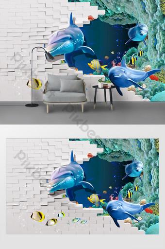 3d立體海洋動物客廳臥室背景牆 裝飾·模型 模板 PSD