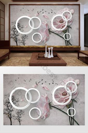gaya cina bunga busana 3d tiga dimensi lingkaran pohon lukisan minyak burung dinding latar belakang Dekorasi dan model Templat PSD