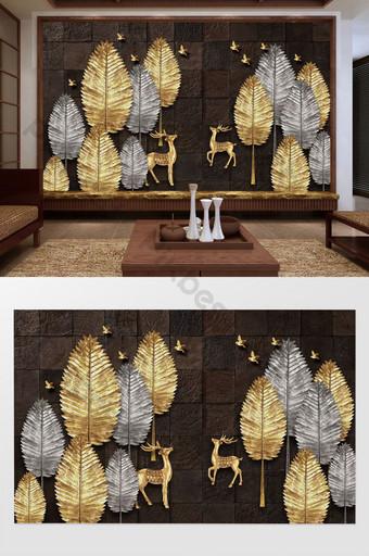 nuevo estilo chino creativo árbol de oro y plata alce pájaro pintura al óleo pared de fondo Decoración y modelo Modelo PSD