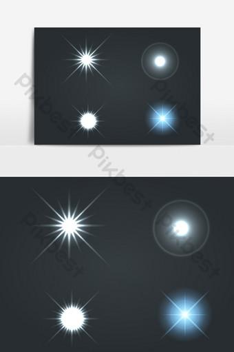 藍色和白色閃亮星光效果ai矢量元素 元素 模板 AI