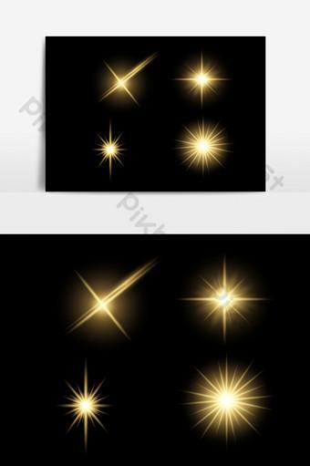 金色閃亮的光效果矢量元素 元素 模板 AI
