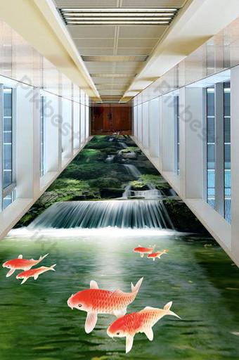 3D تيار شلال حجر مدرسة الأسماك الكلمة الديكور والنموذج قالب PSD