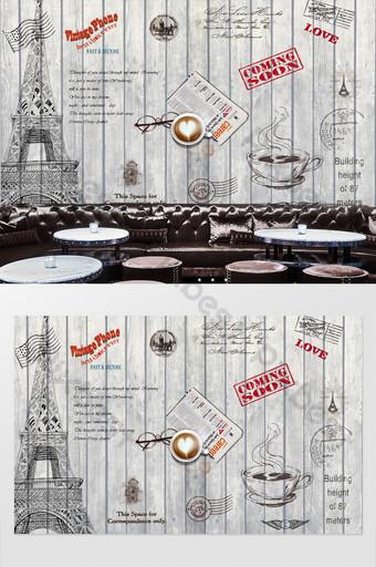 retro vintage sello antecedentes torre eiffel muralla europea Decoración y modelo Modelo PSD