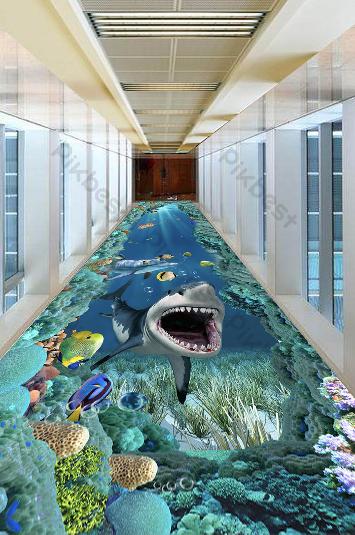 3D underwater sea shark floor painting | Decors & 3D Models