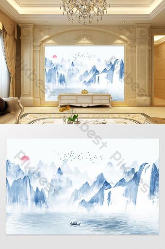 concepción artística china paisaje pájaros y sol tv fondo pared Decoración y modelo Modelo PSD