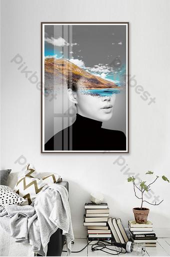 個性定制抽像美女風景酒店客廳臥室裝飾畫 插畫 模板 PSD