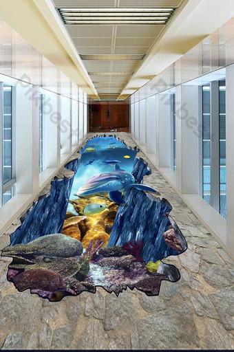 3D ستيريو أعماق البحار العالم تحت الماء اللوحة الكلمة الديكور والنموذج قالب TIF