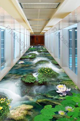 3D الكلمة النبات تيار شلال الديكور والنموذج قالب PSD