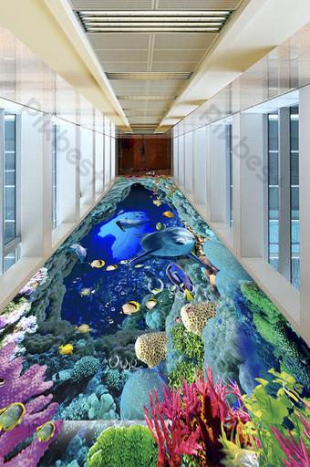 3D دولفين اللوحة الكلمة حفرة زرقاء أعماق البحار الديكور والنموذج قالب TIF