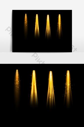 金色舞台聚光燈照明藝術效果ai矢量圖 元素 模板 AI