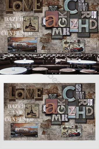 الشمال رسائل الترفيه مقهى الأدوات حائط الخلفية جدارية الديكور والنموذج قالب PSD