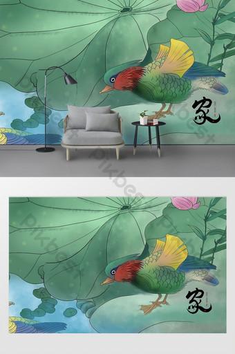 النمط الصيني التصور الفني نمط لوتس ورقة الذهب المنزل وثروة الجدار الخلفية الديكور والنموذج قالب PSD