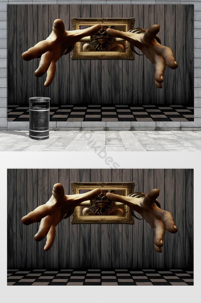 บทคัดย่อ dachang hand 3d พื้นหลังสเตอริโอภาพจิตรกรรมฝาผนัง