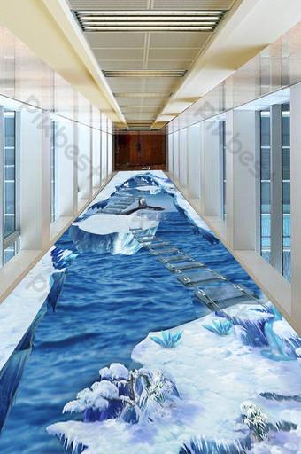 moderno y simple 3d tridimensional mundo glaciar hermoso piso pintura Decoración y modelo Modelo PSD