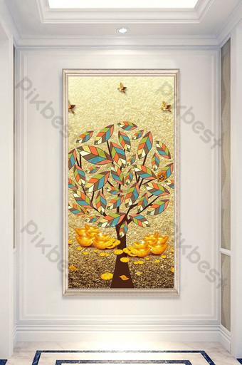 3d浮雕豐富而光榮的鹿金樹入口裝飾 裝飾·模型 模板 PSD